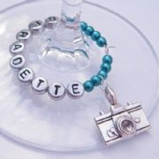 Camera Personalised Wine Glass Charm - Full Bead Style